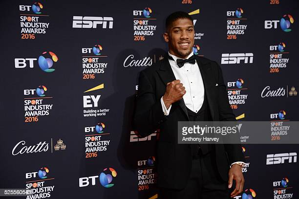 Boxer Anthony Joshua poses on the red carpet at the BT Sport Industry Awards 2016 at Battersea Evolution on April 28 2016 in London England The BT...