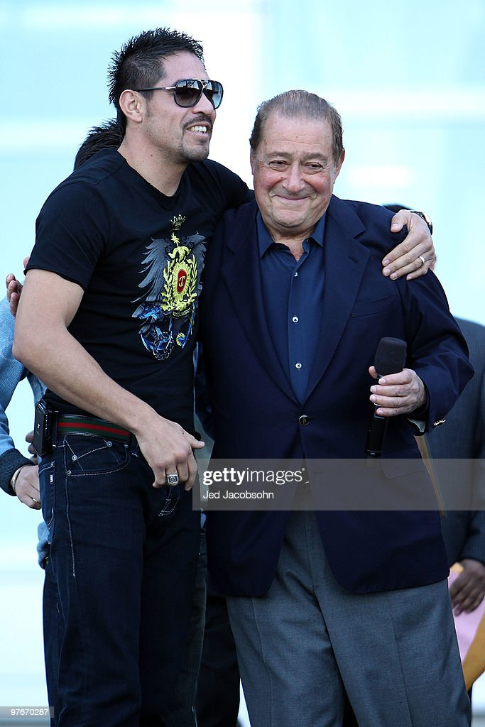 Boxer Antonio Margarito of Mexico and promoter Bob Arum pose in front of Cowboys Stadium before the weighin for the WBO welterweight title fight...