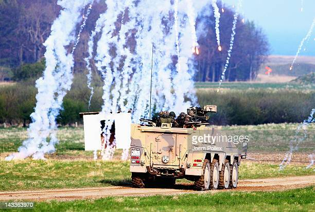 Boxer armoured personnel carrier of the Bundeswehr German armed forces participates in military presentation for Representatives of the OSCE at the...