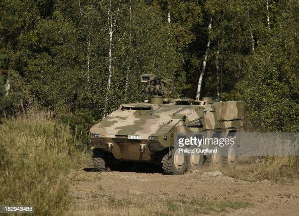 Boxer armoured vehicle is seen during the annual military exercises held for the media at the Bergen military training grounds on October 2 2013 near...