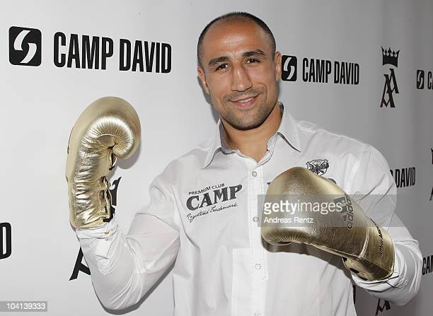 Boxer Arthur Abraham poses during a press conference on September 16 2010 in Berlin Germany Abraham signed a cooperation with German retail clothes...
