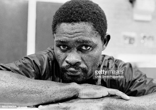 Boxer Azumah Nelson of Ghana during a training session in London circa 1989
