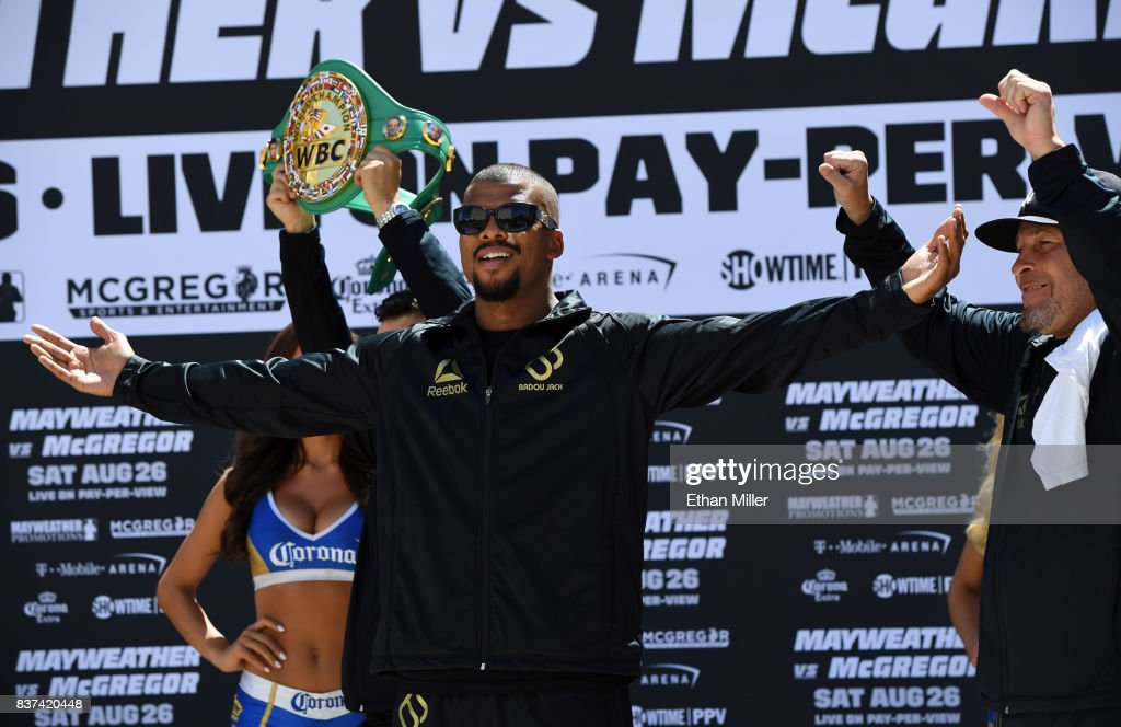 Boxer Badou Jack arrives at Toshiba Plaza on August 22, 2017 in Las Vegas, Nevada. Jack will challenge Nathan Cleverly for his WBA light heavyweight title at T-Mobile Arena on August 26 in Las Vegas.