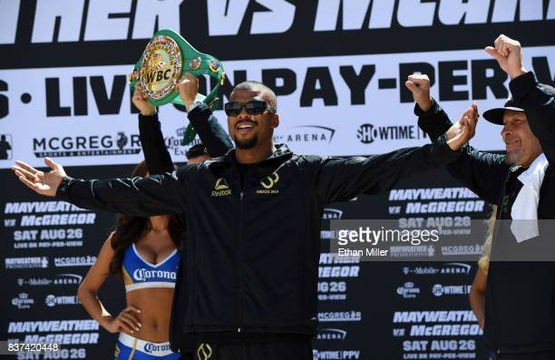 Boxer Badou Jack arrives at Toshiba Plaza on August 22 2017 in Las Vegas Nevada Jack will challenge Nathan Cleverly for his WBA light heavyweight...