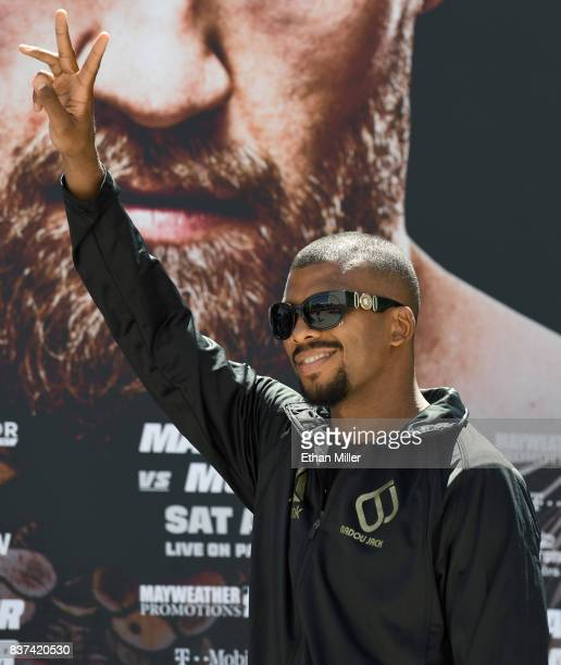 Boxer Badou Jack gestures as he arrives at Toshiba Plaza on August 22 2017 in Las Vegas Nevada Jack will challenge Nathan Cleverly for his WBA light...