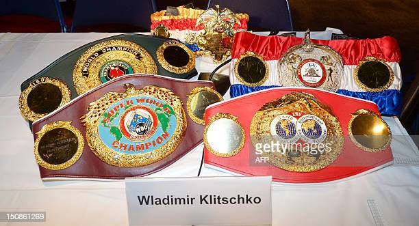Boxer belts of current boxing WBO heavyweight super champion Wladimir Klitschko are on display during a press conference in Hamburg northern Germany...