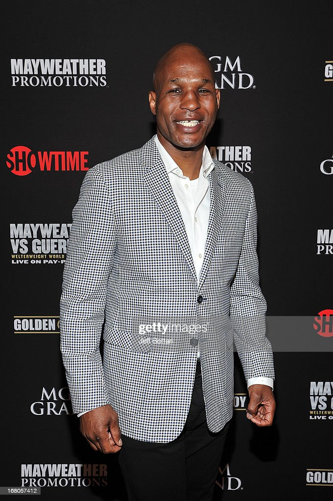 Boxer <a gi-track='captionPersonalityLinkClicked' href=/galleries/search?phrase=Bernard+Hopkins&family=editorial&specificpeople=171200 ng-click='$event.stopPropagation()'>Bernard Hopkins</a> arrives at a VIP pre-fight party at the WBC welterweight title fight between Floyd Mayweather Jr. and Robert Guerrero at the MGM Grand Hotel/Casino on May 4, 2013 in Las Vegas, Nevada.