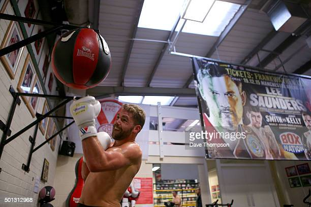 Boxer Billy Joe Saunders skips during a media workout at Oliver's Gym on December 14 2015 in Salford England Saunders faces champion Andy Lee for the...