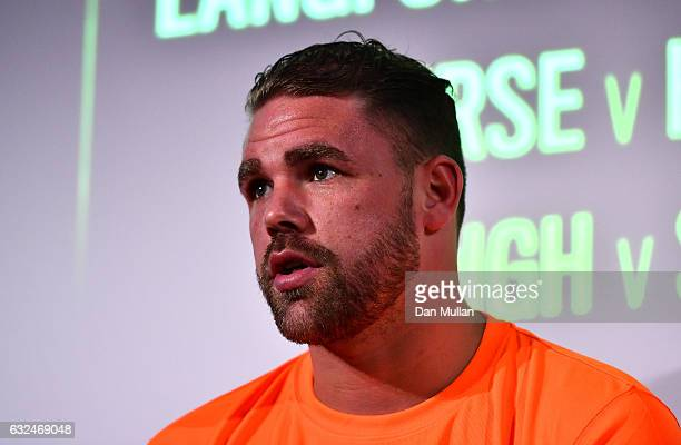 Boxer Billy Joe Saunders speaks during a Frank Warren Press Conference at the BT Tower on January 23 2017 in London England