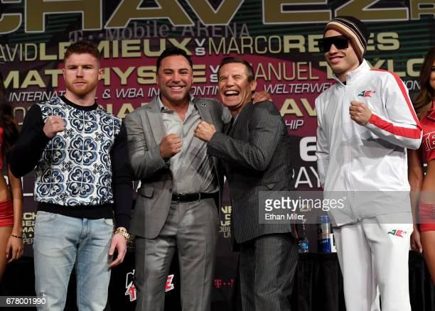 Boxer Canelo Alvarez Golden Boy Promotions Chairman and CEO Oscar De La Hoya former boxer Julio Cesar Chavez Sr and his son boxer Julio Cesar Chavez...