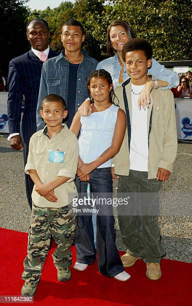 Boxer Chris Eubank with his family during The Disney Channel Kids Awards Arrivals September 20 2003 at Royal Albert Hall in London Great Britain