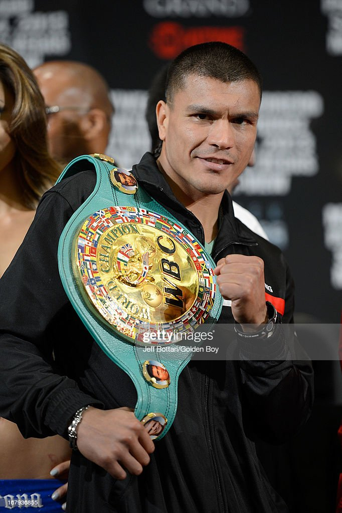 Boxer Daniel Ponce De Leon poses with his WBC featherweight championship belt during the final news conference for his bout against Abner Mares at the MGM Grand Hotel/Casino on May 2, 2013 in Las Vegas, Nevada. Daniel Ponce De Leon will defend his WBC featherweight title against Mares.