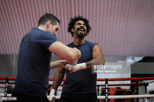Boxer David Haye works out with trainer Shane McGuigan at his gym in Vauxhall on November 23 2016 in London England
