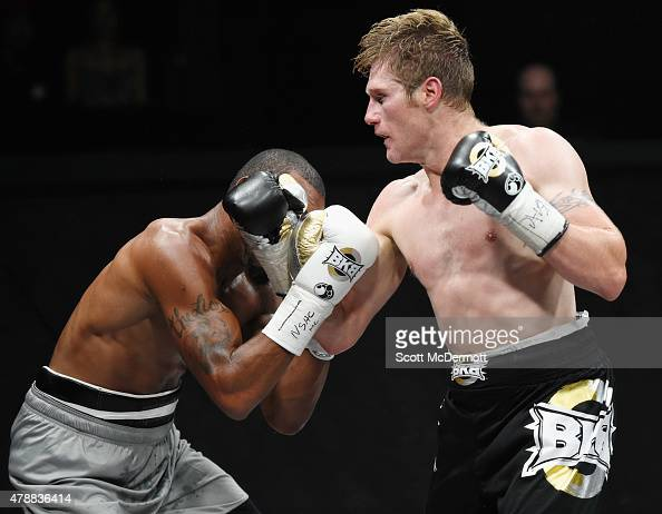 Boxer Ed Paredes fights Janks Trotter during BKB 3 Big Knockout Boxing at the Mandalay Bay Events Center on June 27 2015 in Las Vegas Nevada The...