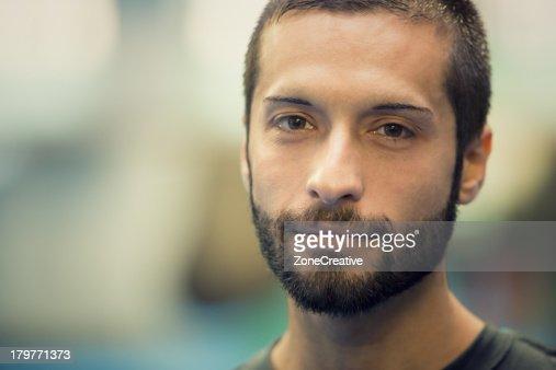 Boxer face front close-up portrait