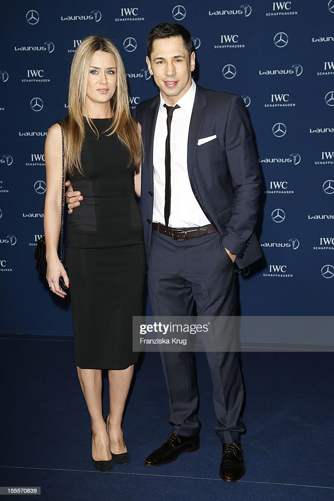 Boxer <a gi-track='captionPersonalityLinkClicked' href=/galleries/search?phrase=Felix+Sturm&family=editorial&specificpeople=171389 ng-click='$event.stopPropagation()'>Felix Sturm</a> and his wife Jasmin Sturm attend the Laureus Media Award 2012 on November 05, 2012 in Kitzbuehel, Austria.