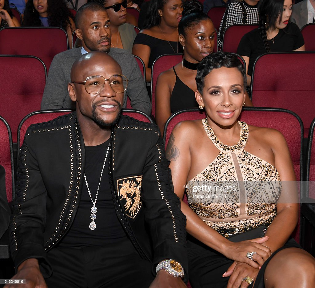 Boxer Floyd Mayweather (L) and Melissia Brim attend the 2016 BET Awards at the Microsoft Theater on June 26, 2016 in Los Angeles, California.