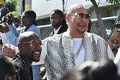 Boxer Floyd Mayweather and recording artist Fat Jone attend the 2016 BET Awards at the Microsoft Theater on June 26 2016 in Los Angeles California
