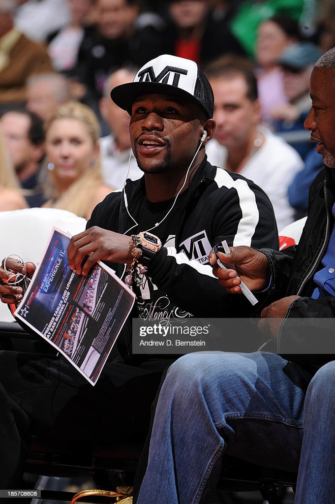 Boxer Floyd Mayweather attends a game between the Utah Jazz and the Los Angeles Clippers at Staples Center on October 23, 2013 in Los Angeles, California.