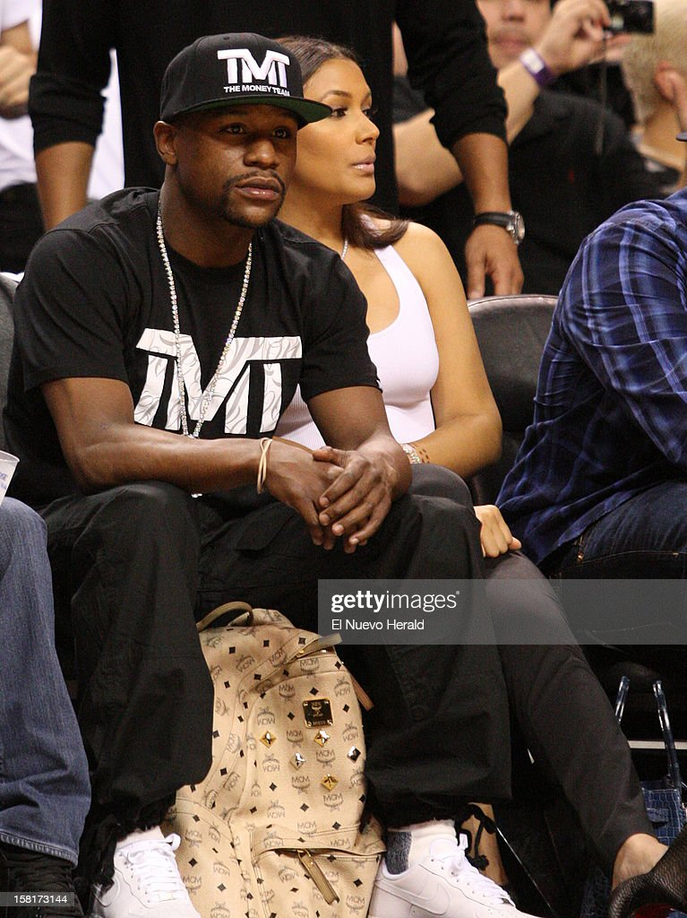 Boxer Floyd Mayweather attends the Miami Heat vs. Atlanta Hawks basketball game at American Airlines Arena on Monday, December 10, 2012, in Miami, Florida.