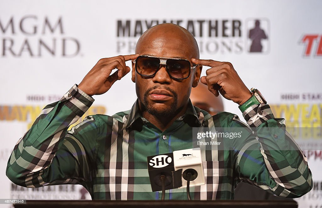 Boxer <a gi-track='captionPersonalityLinkClicked' href=/galleries/search?phrase=Floyd+Mayweather+Jr.&family=editorial&specificpeople=2294114 ng-click='$event.stopPropagation()'>Floyd Mayweather Jr.</a> speaks during a news conference at MGM Grand Hotel & Casino on September 9, 2015 in Las Vegas, Nevada. Mayweather will defend his WBC/WBA welterweight titles against Andre Berto on September 12 at MGM Grand in Las Vegas.