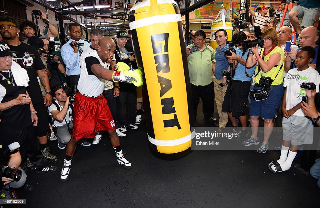 Boxer Floyd Mayweather Jr. works out at the Mayweather Boxing Club on April 22, 2014 in Las Vegas, Nevada. Mayweather will face Marcos Maidana in a 12-round world championship unification bout in Las Vegas on May 3.