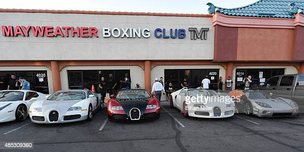 Boxer Floyd Mayweather Jr's three Bugattis and his new USD 48 million Koenigsegg CCXR Trevita car are parked outside the Mayweather Boxing Club...