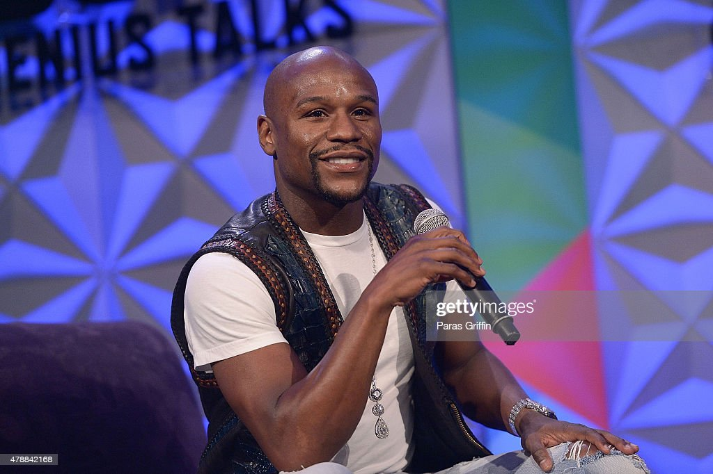 Boxer Floyd Mayweather speak onstage at Genius Talks during the 2015 BET Experience at the Los Angeles Convention Center on June 27, 2015 in Los Angeles, California.