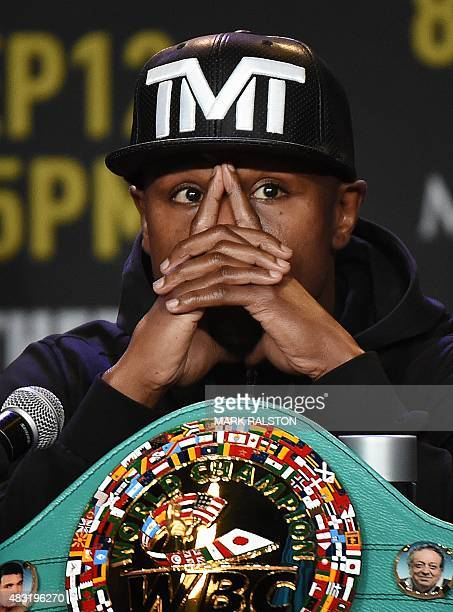Boxer Floyd 'Money' Mayweather during a press conference to officially announce his September 12 fight against Andre Berto that will place at the MGM...