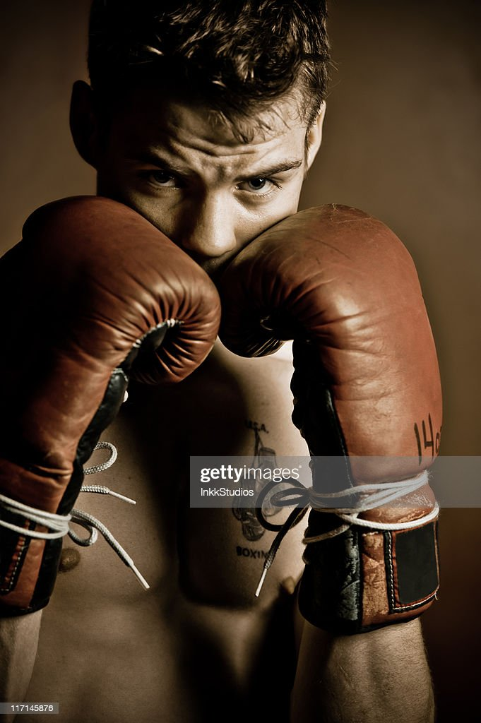 Boxer focusing before a fight : Stock Photo