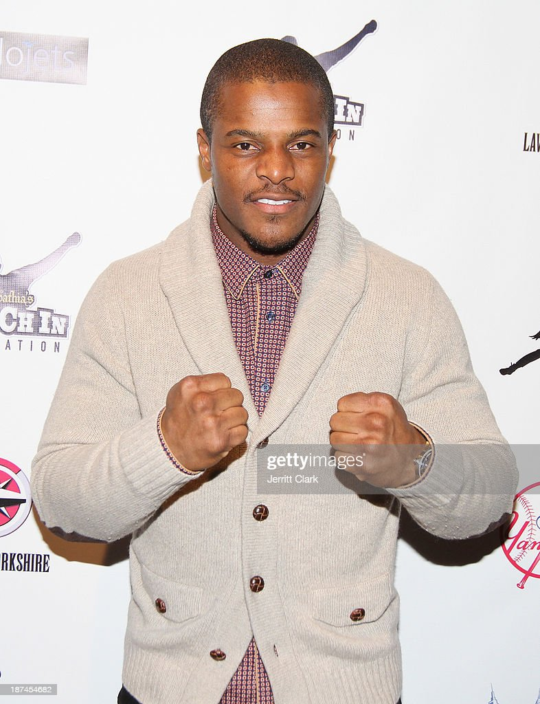 Boxer Hino Ehikhamenor attends the PitCCh In Foundation 2013 Challenge Rules Party at Luxe at Lucky Strike Lanes on November 8, 2013 in New York City.