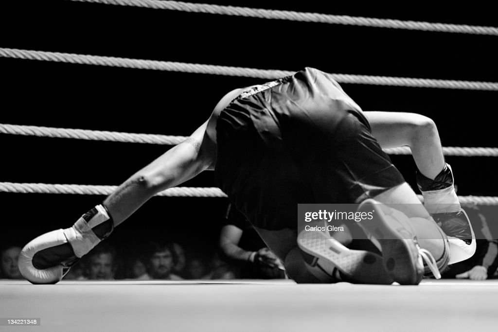 Boxer in boxing ring : Stock Photo