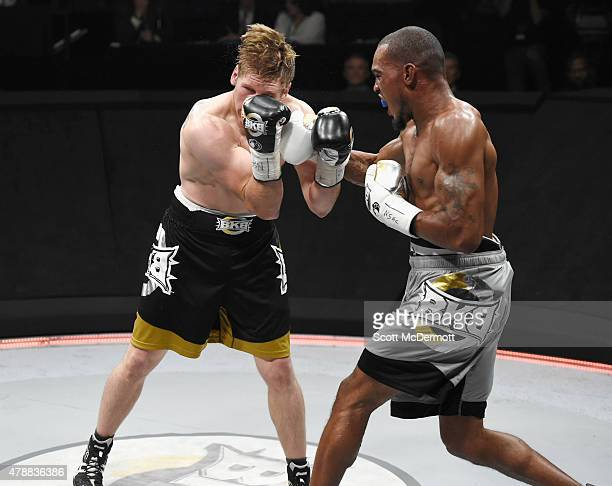 Boxer Janks Trotter fights Ed Paredes during BKB 3 Big Knockout Boxing at the Mandalay Bay Events Center on June 27 2015 in Las Vegas Nevada The...