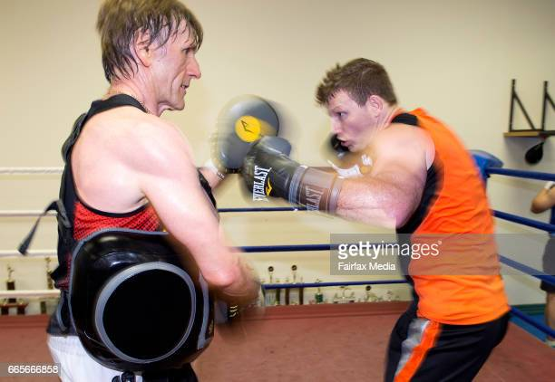 Boxer Jeff Horn is seen in a sparring session with his trainer Glenn Rushton at his training gym in Stretton on January 12 2017 in Brisbane Australia
