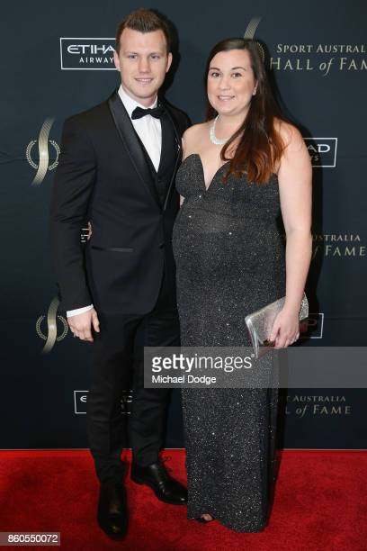 Boxer Jeff Horne and his wife Joanna pose at the Sport Australia Hall of Fame Annual Induction and Awards Gala Dinner at Crown Palladium on October...