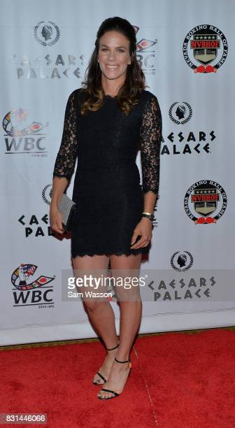 Boxer Jelena Mrdjenovich arrives at the fifth annual Nevada Boxing Hall of Fame induction gala at Caesars Palace on August 12 2017 in Las Vegas Nevada