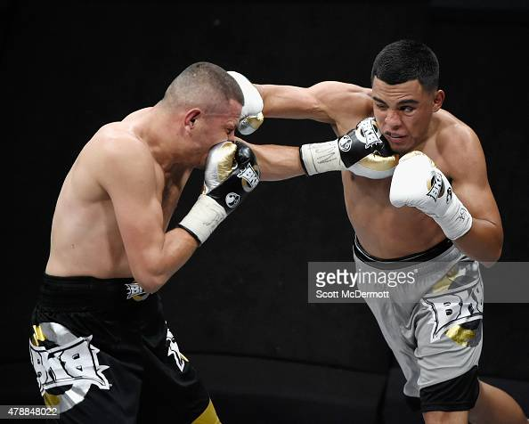 Boxer Jesus Soto Karass fights Adrian Granados during BKB 3 Big Knockout Boxing at the Mandalay Bay Events Center on June 27 2015 in Las Vegas Nevada...