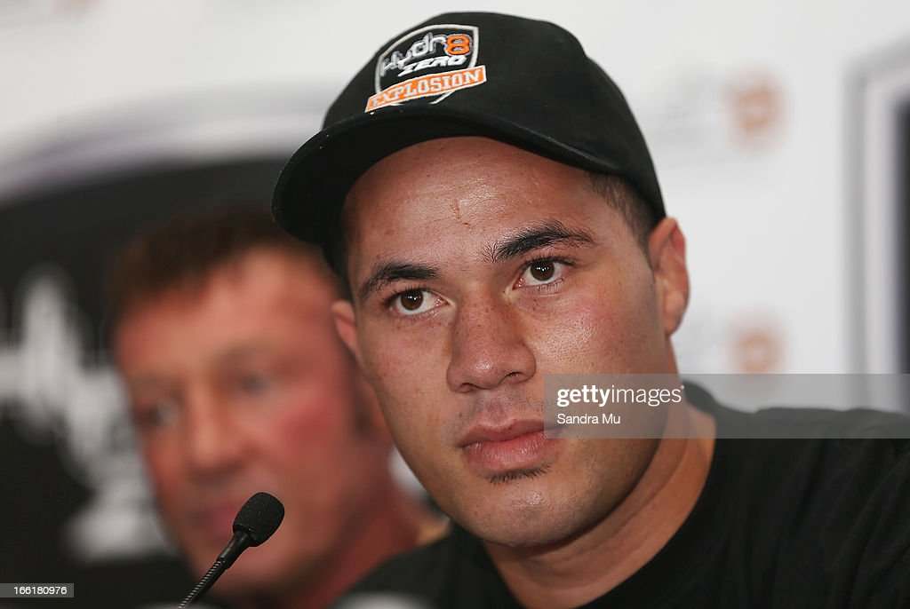 Boxer Joesph Parker addresses the media with his new trainer Kevin Barry during the Hydr8 Zero Explosion Press Conference at Northern Steamship Bar on April 10, 2013 in Auckland, New Zealand.