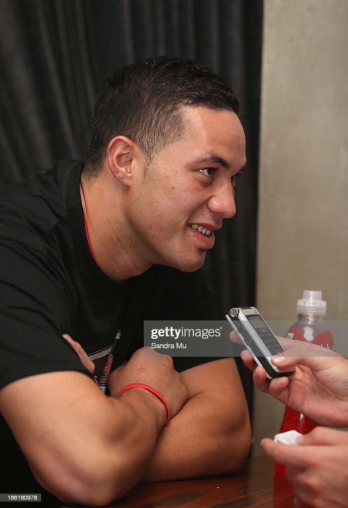 Boxer Joesph Parker is interviewed after the Hydr8 Zero Explosion Press Conference at Northern Steamship Bar on April 10, 2013 in Auckland, New Zealand.