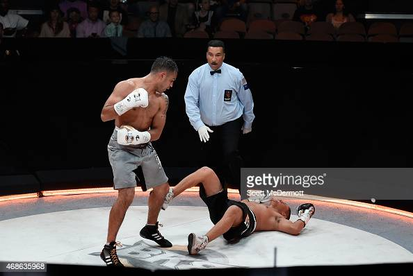 Boxer Jonathan Chicas knocks down boxer Javier Garcia during BKB 2 Big Knockout Boxing at the Mandalay Bay Events Center on April 4 2015 in Las Vegas...