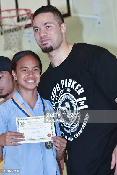 Boxer Joseph Parker hands out awards at his old school of Marcellin College ahead of his WBO world boxing heavyweight title fight