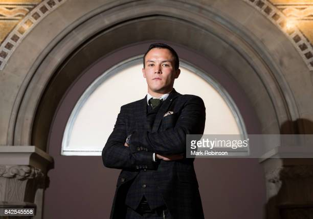 Boxer Josh Warrington poses for a portrait after a press conference to announce his next fight at Leeds Aspire on September 4 2017 in Leeds England