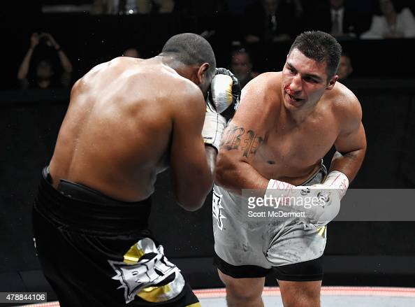 Boxer Julian Pollard fights Rodney Hernandez during BKB 3 Big Knockout Boxing at the Mandalay Bay Events Center on June 27 2015 in Las Vegas Nevada...