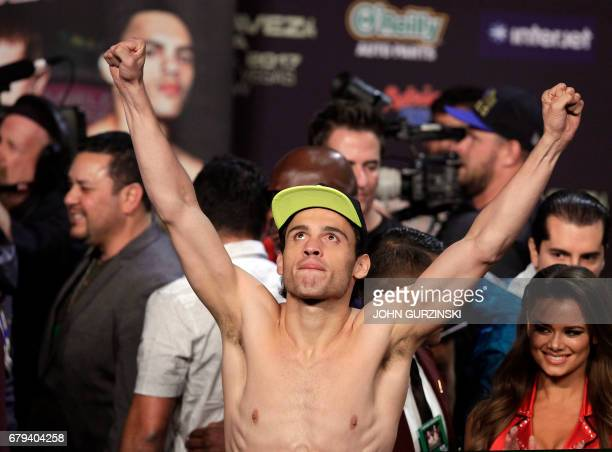 Boxer Julio Cesar Chavez Jr reacts to fans during his weighin Friday May 5 2017 with Canelo Alvarez at the MGM Grand Arena in Las Vegas Nevada...