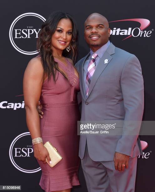 Boxer Laila Ali and former NFL player Curtis Conway arrive at the 2017 ESPYS at Microsoft Theater on July 12 2017 in Los Angeles California