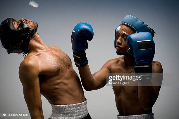 Boxer landing knock out punch