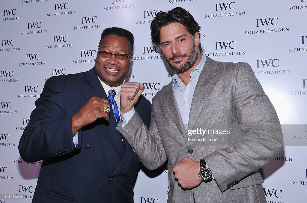 Boxer <a gi-track='captionPersonalityLinkClicked' href=/galleries/search?phrase=Larry+Holmes&family=editorial&specificpeople=730775 ng-click='$event.stopPropagation()'>Larry Holmes</a> and actor <a gi-track='captionPersonalityLinkClicked' href=/galleries/search?phrase=Joe+Manganiello&family=editorial&specificpeople=2516889 ng-click='$event.stopPropagation()'>Joe Manganiello</a> attend the IWC Flagship Boutique New York City Grand Opening at IWC Boutique on April 25, 2012 in New York City.