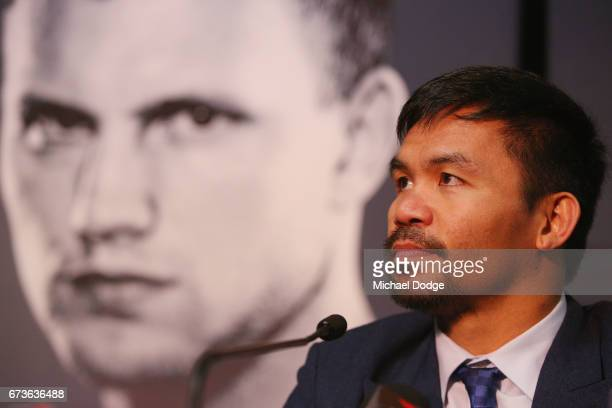 Boxer Manny Pacquiao of the Philippines speaks to media during a press conference at Invictus Gym on April 27 2017 in Melbourne Australia Pacquiao...