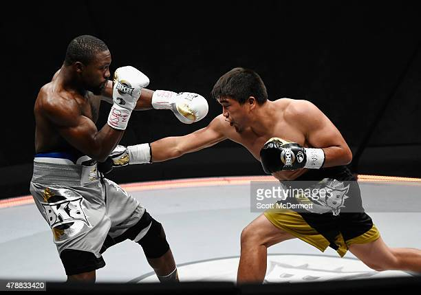 Boxer Marcus Willis fights Urmat Ryskeldiev during BKB 3 Big Knockout Boxing at the Mandalay Bay Events Center on June 27 2015 in Las Vegas Nevada...