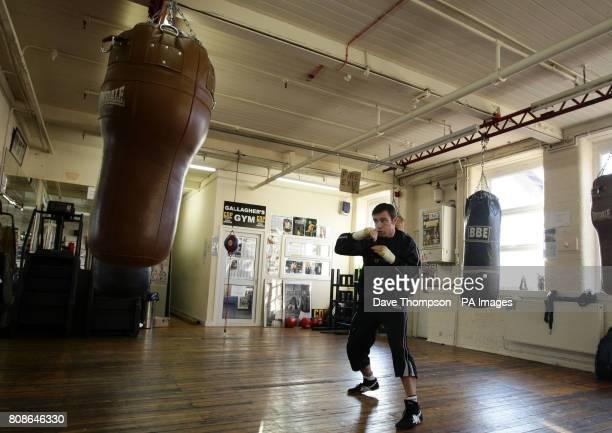 Boxer Matthew Macklin shadow boxes at Gallaghers Gym in Denton Manchester